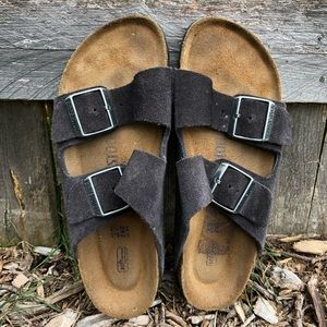 Charcoal Suede Leather Birkenstock Sandals